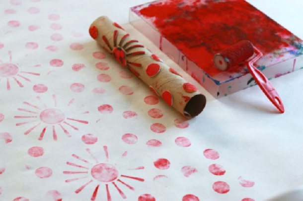Printing with card board rolls