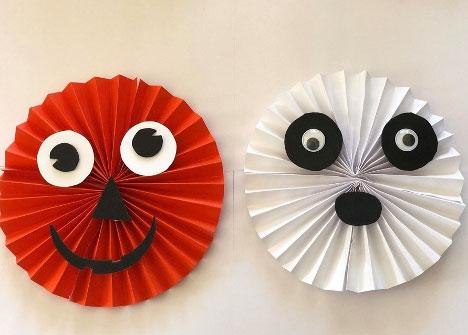 Paper Fan Pumpkin and Ghost Craft