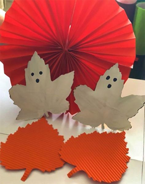 Scary Ghost Leaf Craft