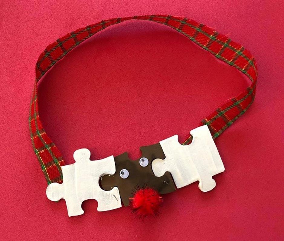 Jigsaw Piece Reindeer Ornament