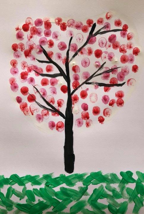 Heart Fingerprint Tree Craft for Valentines Day