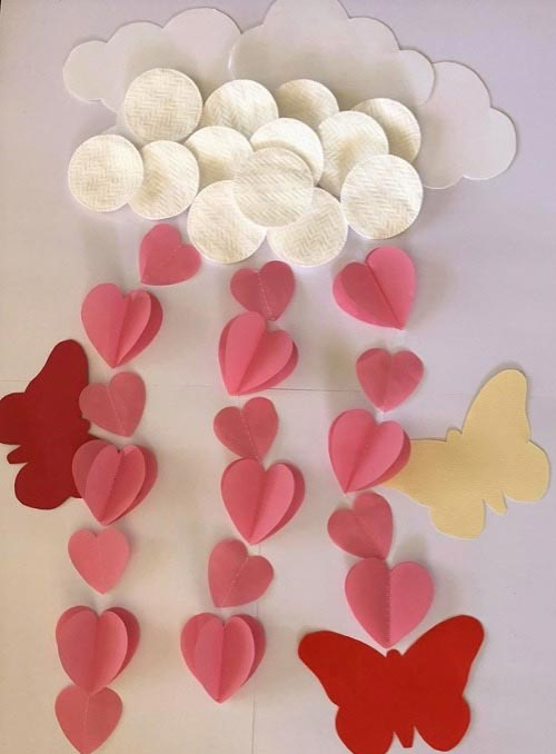 Rain of Hearts with Cotton Balls
