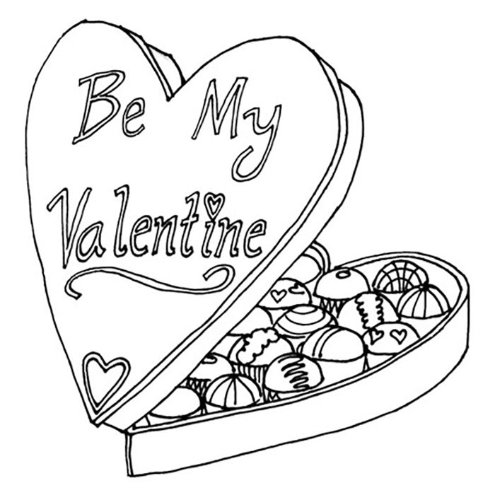 Valentine's Box of Chocolates Coloring Pages